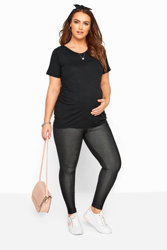 BUMP IT UP MATERNITY Black Jeggings With Comfort Panel plus size .