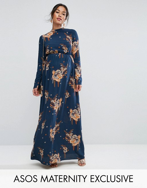 ASOS Maternity PETITE Maxi Dress with Long Sleeve in Chinoiserie .