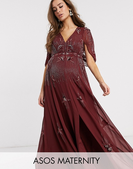 ASOS DESIGN Maternity maxi dress with linear sequin and floral .