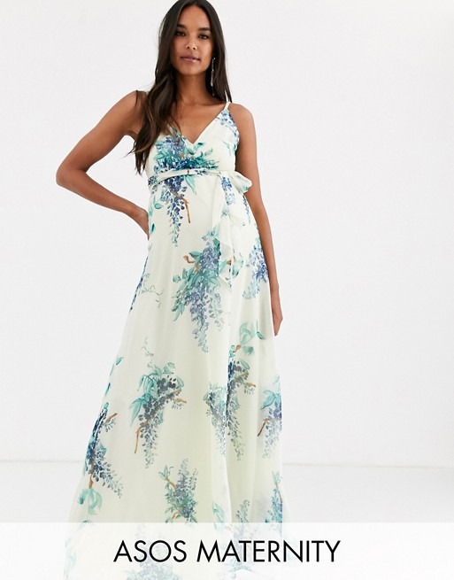 ASOS DESIGN Maternity maxi dress with wrap bodice in blossom .