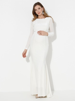 White - Fully Lined - - Crew neck - Maternity Evening Dre