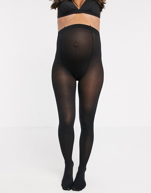 Lindex 40 Denier recycled maternity tights in black | AS
