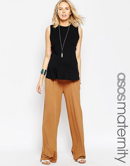 ASOS Maternity Wide Leg Trousers In Jersey   AS