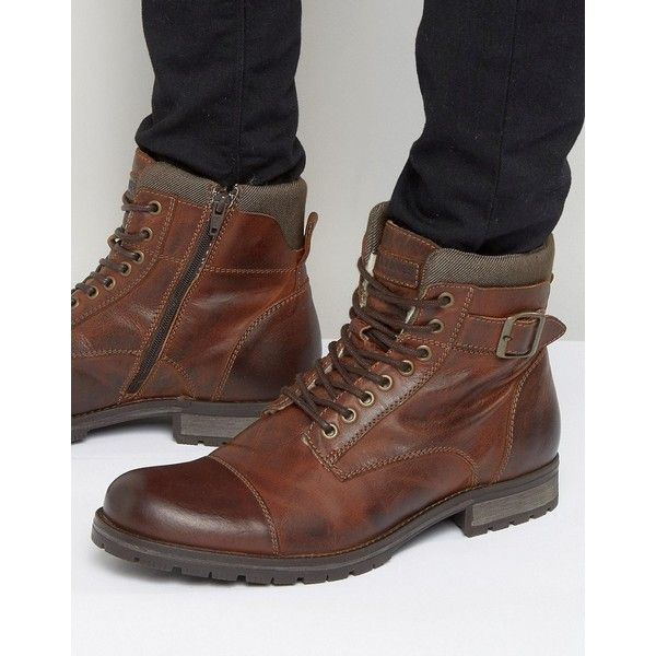 Jack & Jones Albany Warm Leather Boots ($138) ❤ liked on Polyvore .