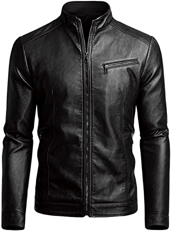 Fairylinks Men's Casual Faux Leather Jacket at Amazon Men's .