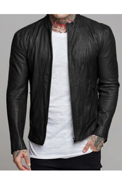 New Trendy Plain Long Sleeve Stand-Collar Zip Up Casual Leather .
