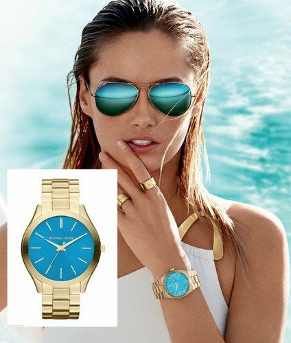 Michael Kors] I love this gold/turquoise watch, but it is for .