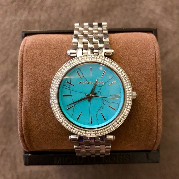 Michael Kors Accessories | Turquoise Stone Face Silver Watch .