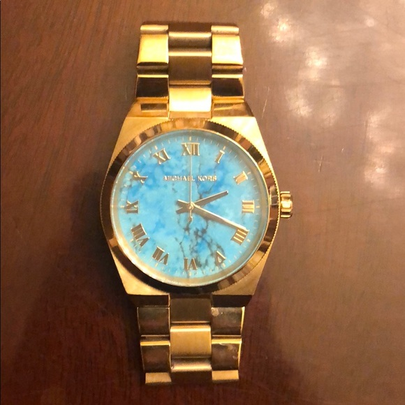 Michael Kors Accessories | Gold Watch With Turquoise Face | Poshma