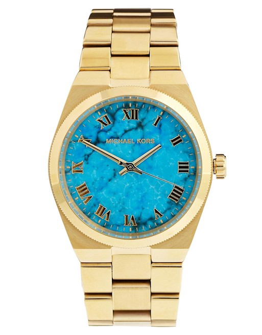 Michael Kors Turquoise Face Gold Watch | AS