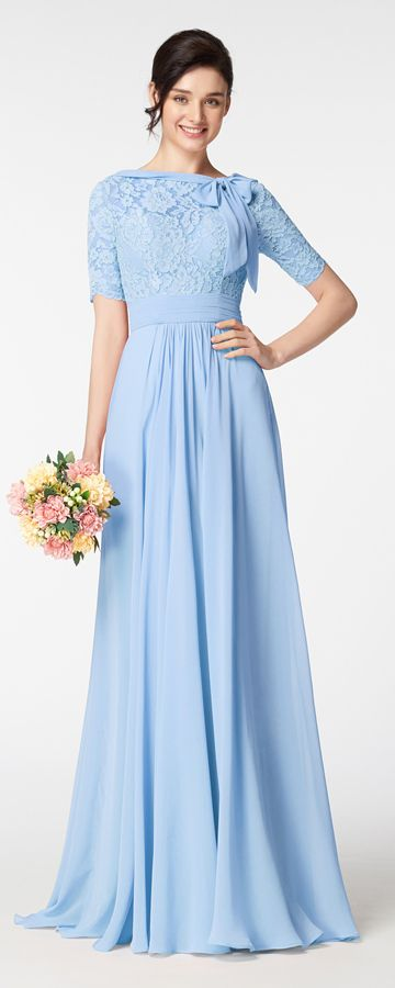 Modest Light Blue Prom Dresses with Elbow Sleeves and Bow | Light .