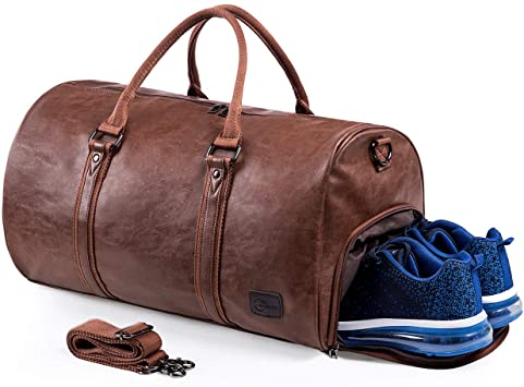 Amazon.com | Leather Travel Bag with Shoe Pouch, Waterproof .