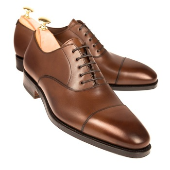 Cap Toe Brown Oxford Shoes,Men Genuine Leather Hand Made Top .