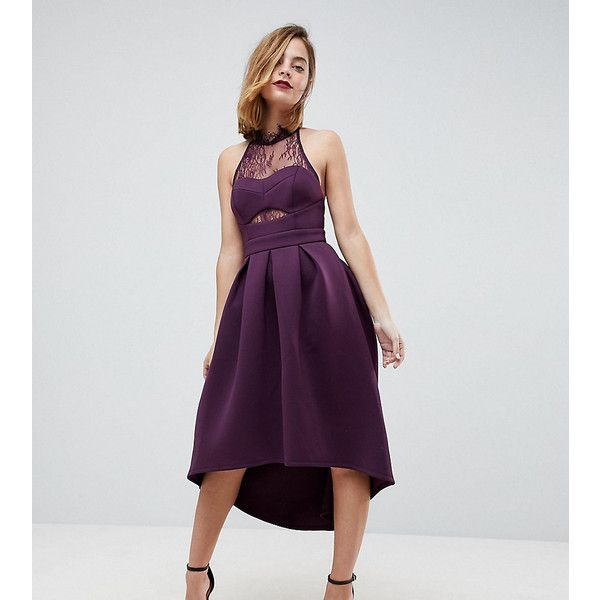 ASOS PETITE Halter Lace Top Dip Back Prom Dress ($100) ❤ liked on .
