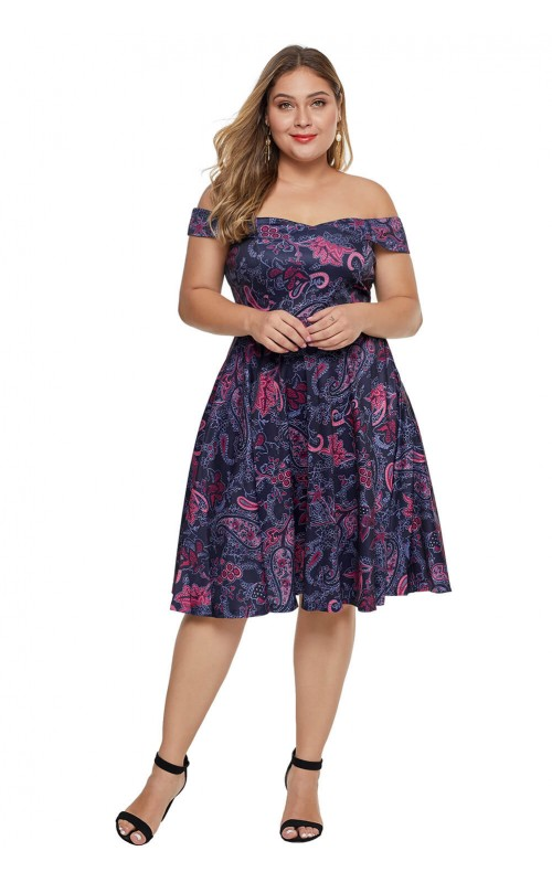 Purple Floral Printed Off The Shoulder Short Sleeve Plus Size Club .