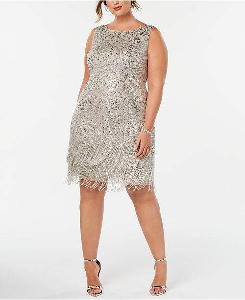 Adrianna Papell Plus Size Hand-Beaded Fringe Shift Dress & Reviews .