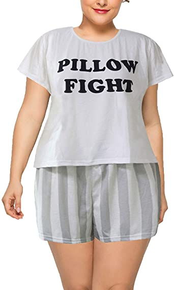 HEARTISIAN Womens Plus Size Pajamas Letters Printing Short Sleeve .