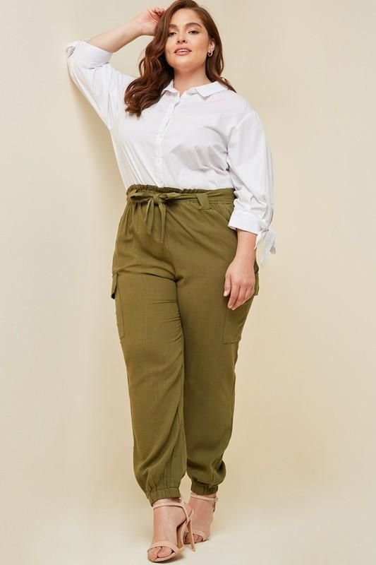 Olive Plus Size Linen Paper-bag Tapered Trousers   Tapered pants .