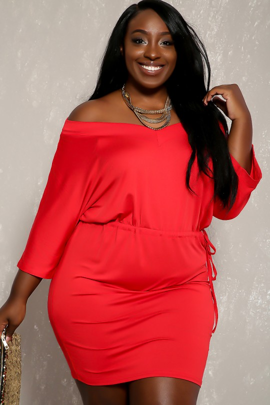 Sexy Red V-Cut Long Sleeve Bodycon Plus Size Party Dre