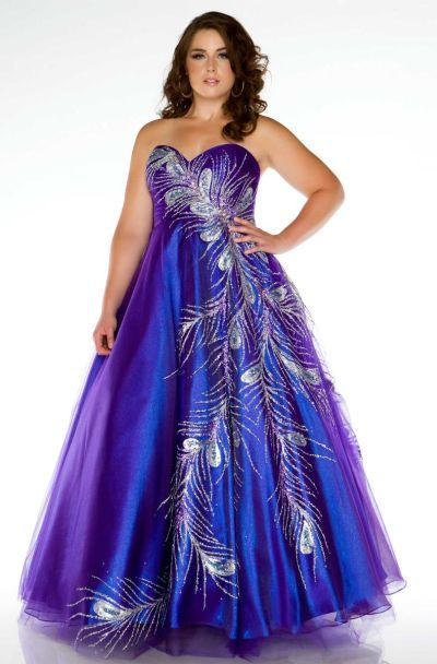Fabulouss 81765F Iridescent Plus Size Feather Design Ball Gown .