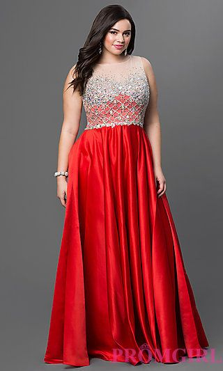 Satin Floor Length Red Plus Size Dress with Embellished Sheer .