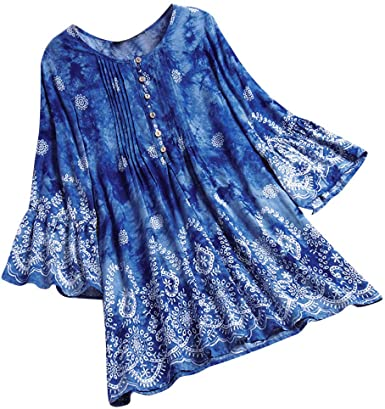 Summer Clothes for Women Plus Size Tunic Top Ethnic Print 3/4 .