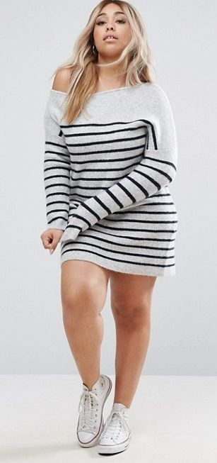 Plus Size Sweater Dress with Off Shoulder in Stripe | Plus size .
