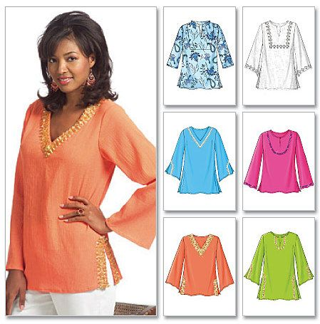 PLUS SIZE TUNIC Top Sewing Pattern - Six Easy Tops Sizes 16-22 .