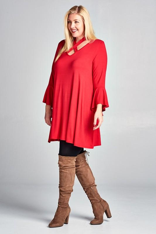 The Justine - Women's Plus Size Halter Top Tunic Dress in Red .