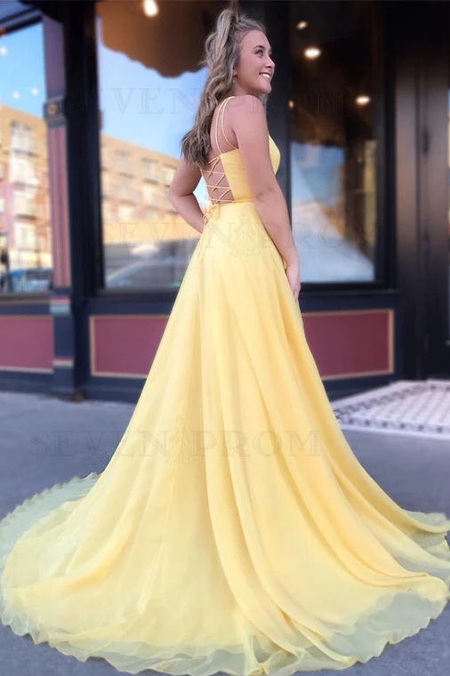 Yellow Long Chiffon A Line Prom Dresses 2020 with Lace Up Back .