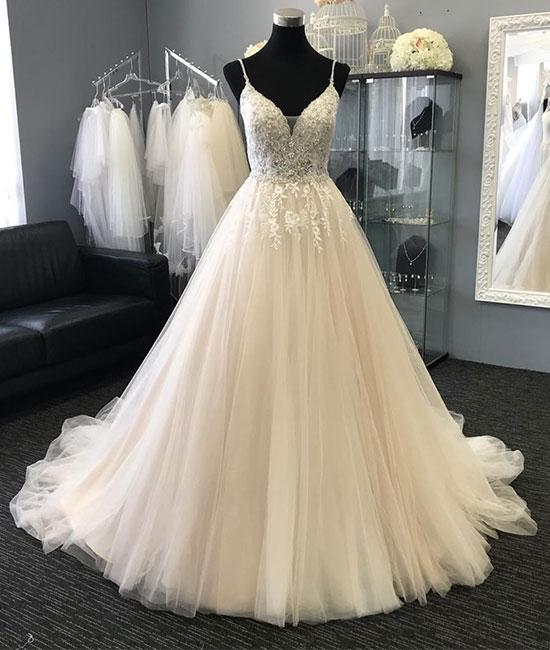 Light Charming Tulle Lace Long Prom Dresses, Evening dresses .