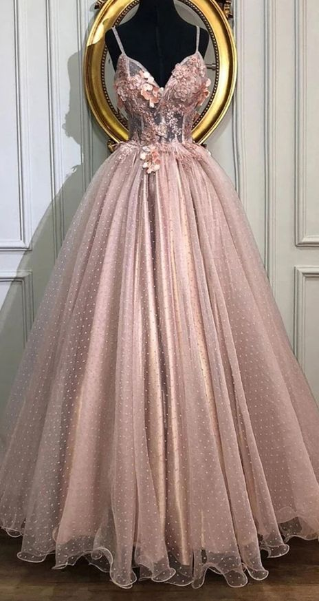 A-line V-Neck Tulle Long Prom Dresses, Pearl Pink Appliques Formal .