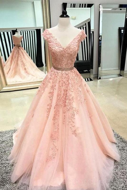Pretty Long Pink Lace Tulle Elegant Princess Prom Dresses For .
