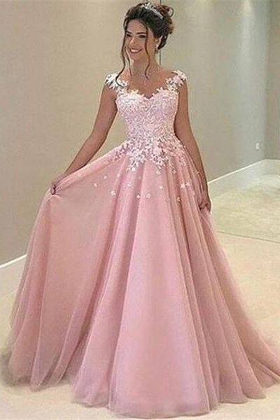 New Design Lace Pink Long Prom Dresses For Teens,Princess Prom .