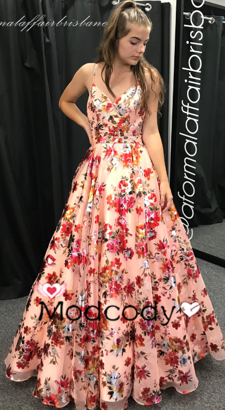 Princess Pink Floral Long Prom Dress from Modcody   Prom dresses .