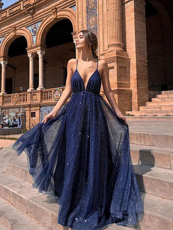 Buy Sexy A Line Spaghetti Straps Navy Blue Prom Dresses 2019 with .