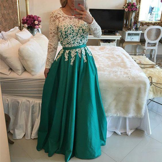 Long Prom Dresses 2019 A-line Long Sleeves Lace Modest .