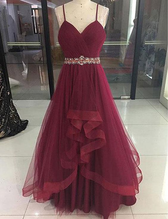 Wine Red High Low Party Dress 2019, Cute Straps Junior Prom Dress .