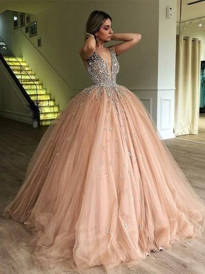 Tulle Simple Ball-Gown Sweep Train Prom Dresses #218657 - lalami