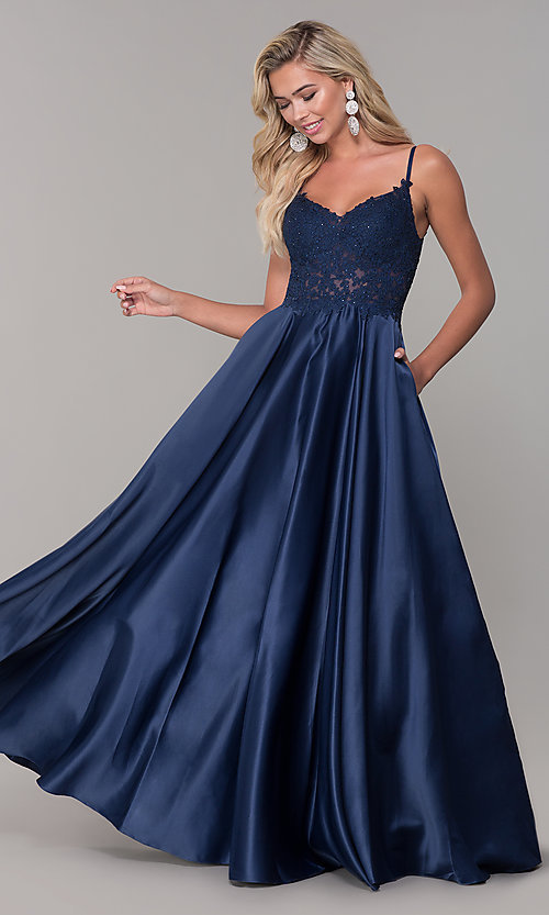 Satin Prom Dress with Embroidered Bodice - PromGi