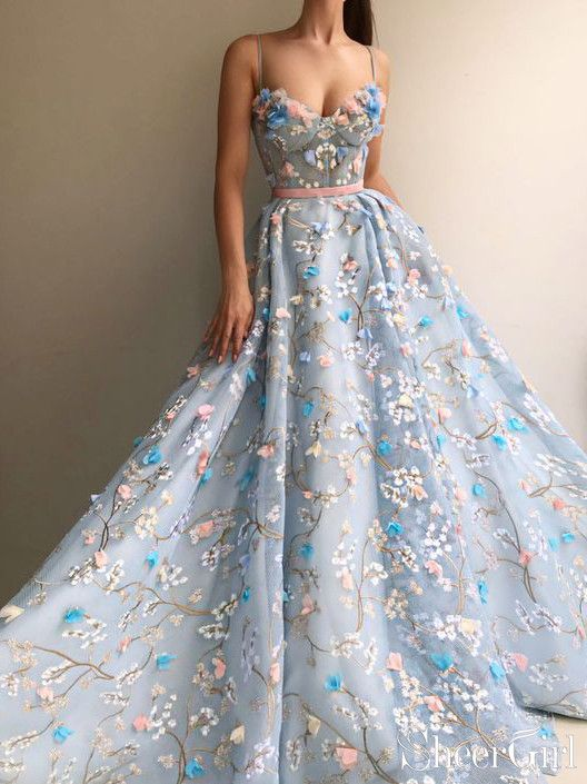 Best ball gown of this year. 3D flower appliqued Prom Dresses 2019 .