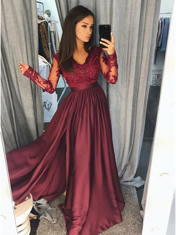 Buy A-Line V-Neck Long Sleeves Burgundy Prom Dress with Appliques .