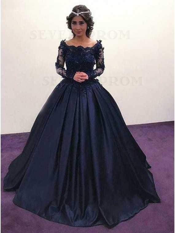 Buy Ball Gown Off-the-Shoulder Long Sleeves Navy Blue Prom Dress .