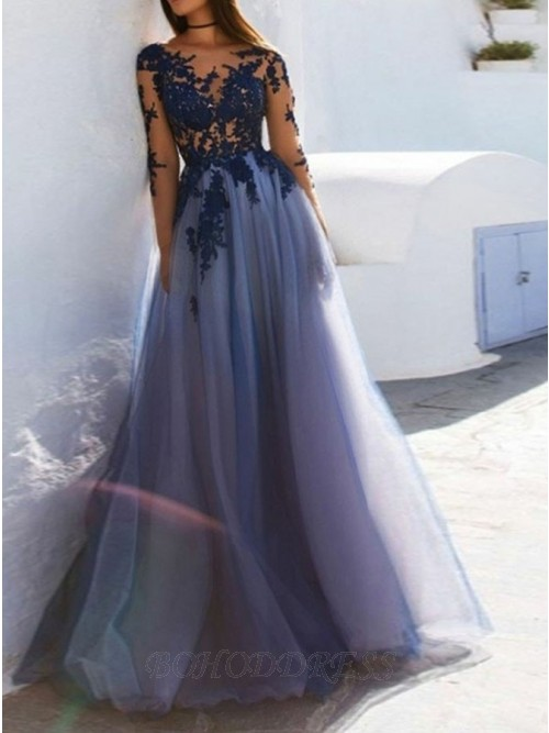 A-Line Bateau Long Sleeves Open Back Dark Blue Prom Dress with .