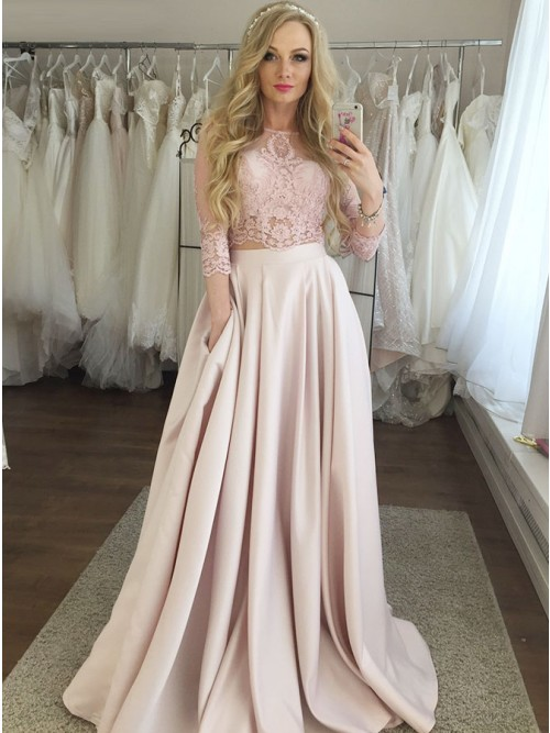Two Piece Bateau 3/4 Sleeves Pearl Pink Prom Dress with Lace .