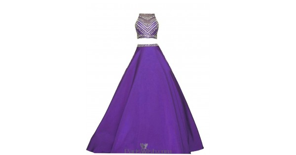 Crop Top Beaded A Line Purple Two Piece Formal Prom Dress