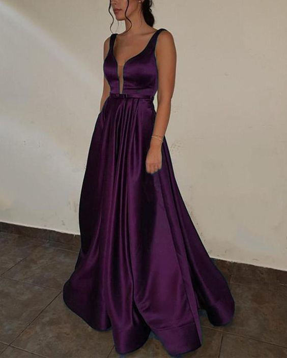 Purple Prom dress with Deep V Neck A Line Satin Formal Gown Long .