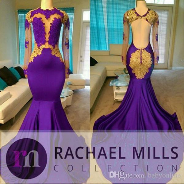 Charming African Style High Neck Prom Dresses 2020 Gold And Purple .