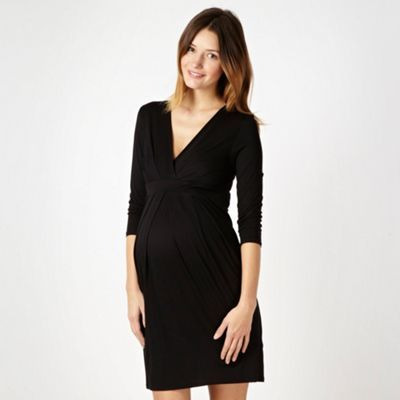 Red Herring Maternity Black jersey tie back maternity dress- at .