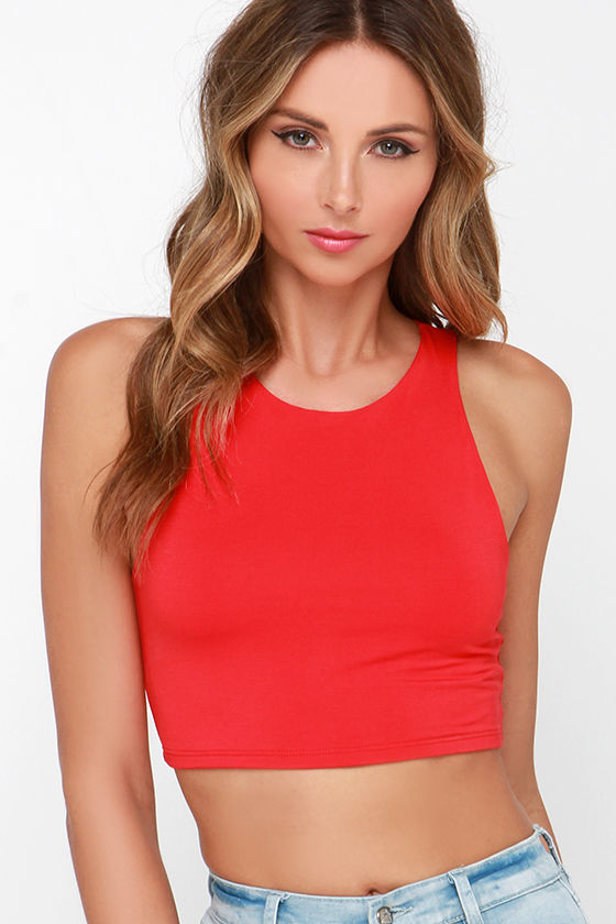 Sexy Red Top - Red Crop Top - Jersey Knit Top - $29.